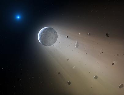 ilustração de pequeno rochoso sendo vaporizado por estrela anã branca