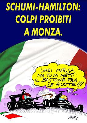 Михаэль Шумахер ставит палки в колеса Льюису Хэмилтону в Монце - комикс Baffi по Гран-при Италии 2011