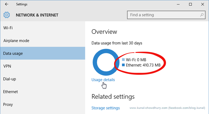 Data Usage in Windows 10 (www.kunal-chowdhury.com)