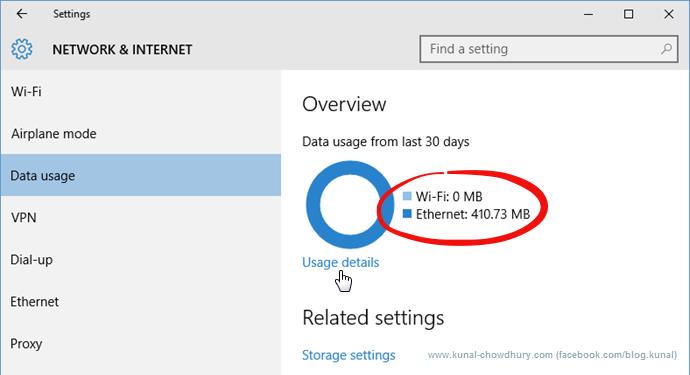Data Usage in Windows 10 (www.kunal-chowdhury.com)