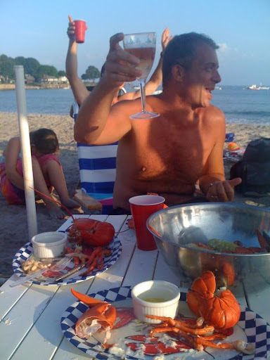 My brother, David, toasting on the beach