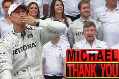 Михаэль Шумахер и Росс Браун на Гран-при Бразилии 2012