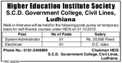 SCD Govt College Advertisement IndGovtJobs