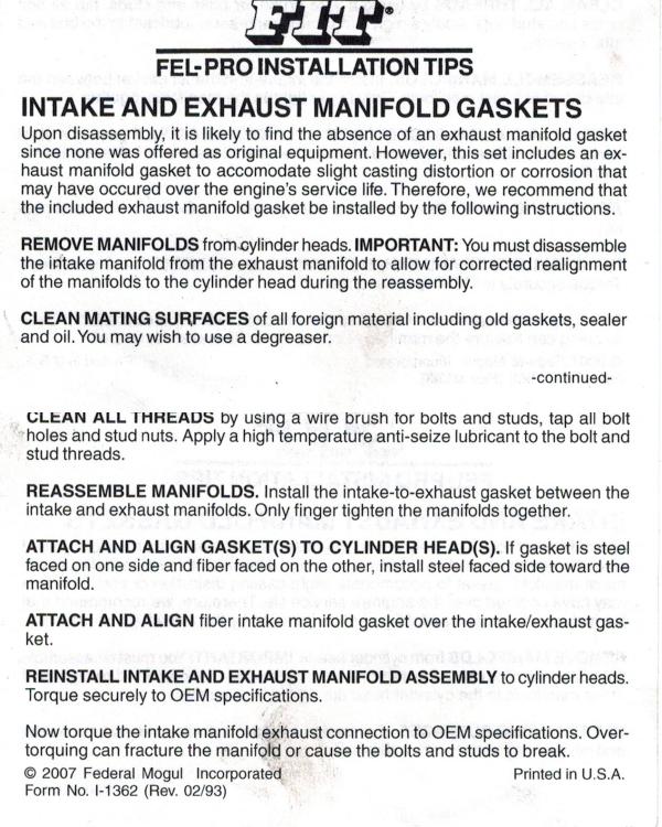 felpro intake manifold gasket installation instructions