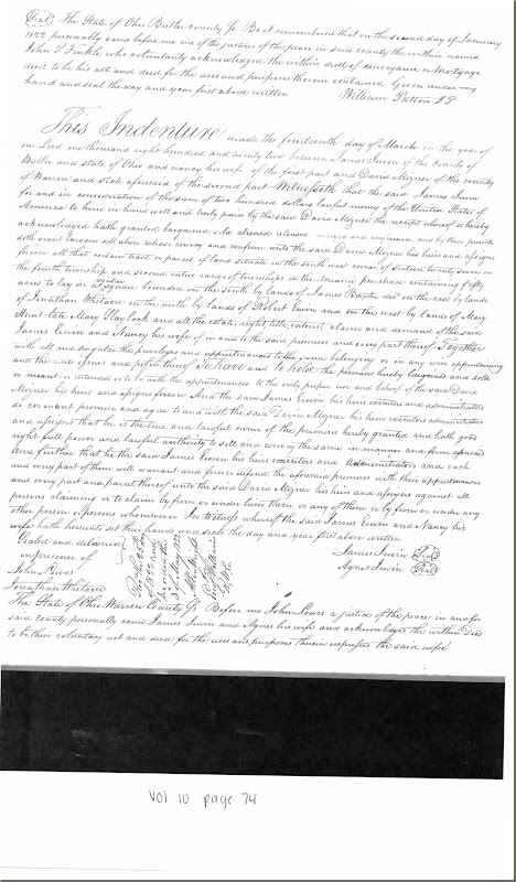 James Irwin of Butler Co, OH sells to David Mizner 14 Mar 1822_0001