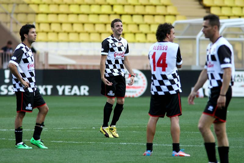 Серхио Перес, Жюль Бьянки и Фернандо Алонсо на благотворительном футбольном матче перед Гран-при Монако 2014