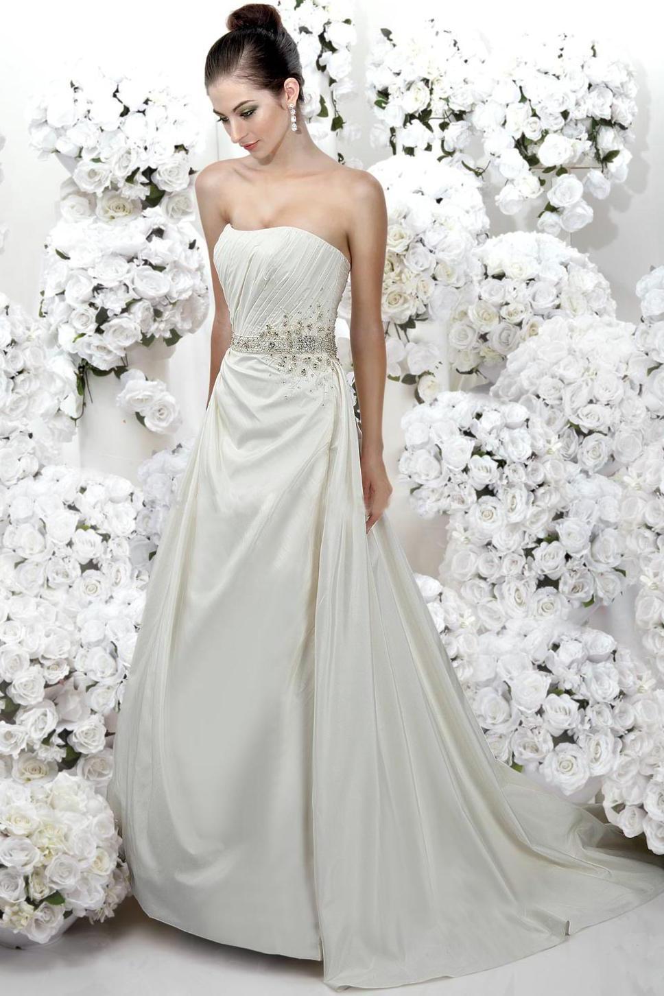 Modest Discount Beaded Zipper Natural Waist Designer Wedding Dresses