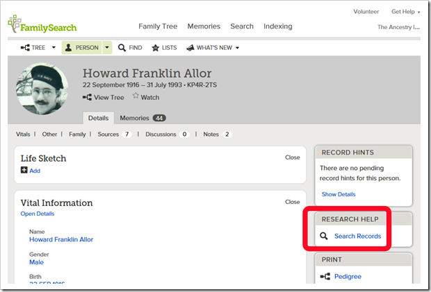Howard Franklin Allor's person page on FamilySearch Family Tree