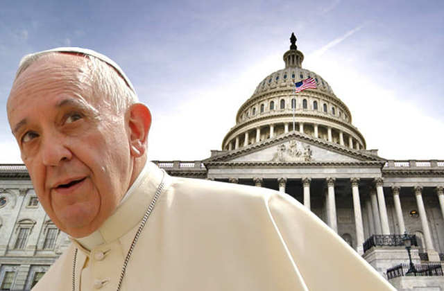 Pope Francis in front of the U.S. Capitol building. Photo: Salon