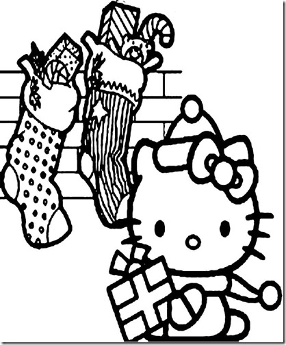 colorear hello kitty navidad (3)