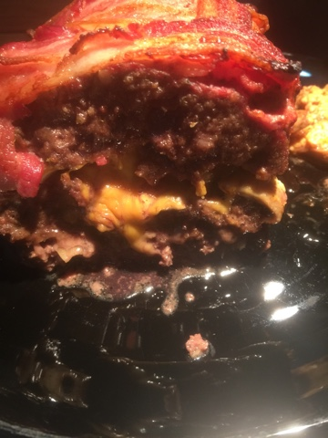 Bacon weave, beer caramelized onions, meatloaf