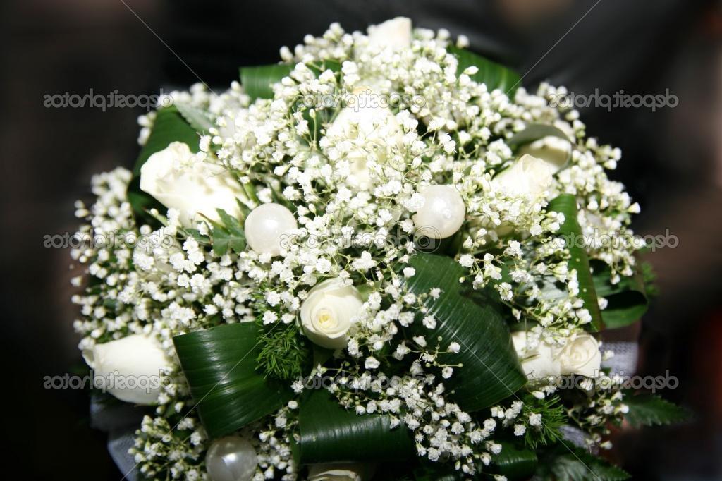 White wedding bouquet on a dark background