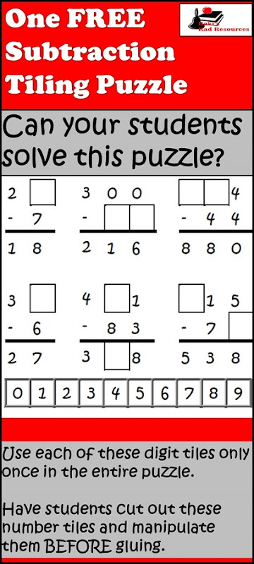 Tiling Puzzle - Subtraction with Regrouping - free download for your math centers from Raki's Rad Resources.