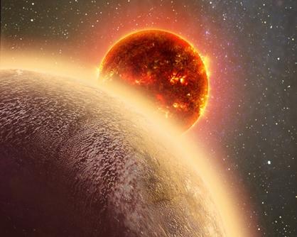 ilustração do exoplaneta e sua estrela anã vermelha