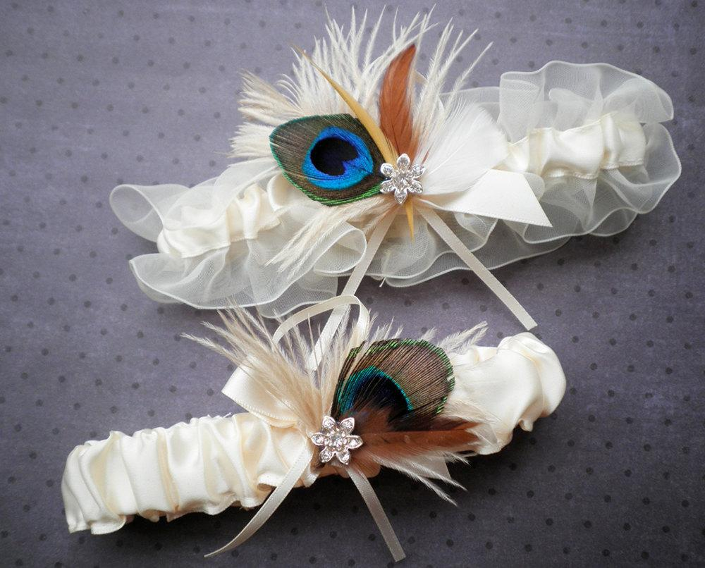 Ivory and Peacock Garter Bridal Set - Peacock feathers on a ivory garter set