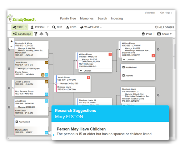 FamilySearch Family Tree landscape pedigree research suggestions
