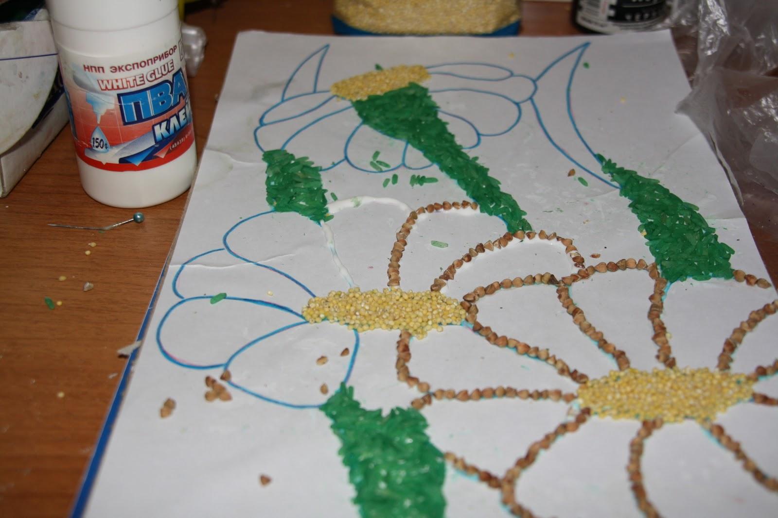 Как покрасить пшено для поделки 2