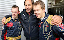 Sebastien Bourdais, Gerhard Berger and Sebastian Vettel at Toro Rosso
