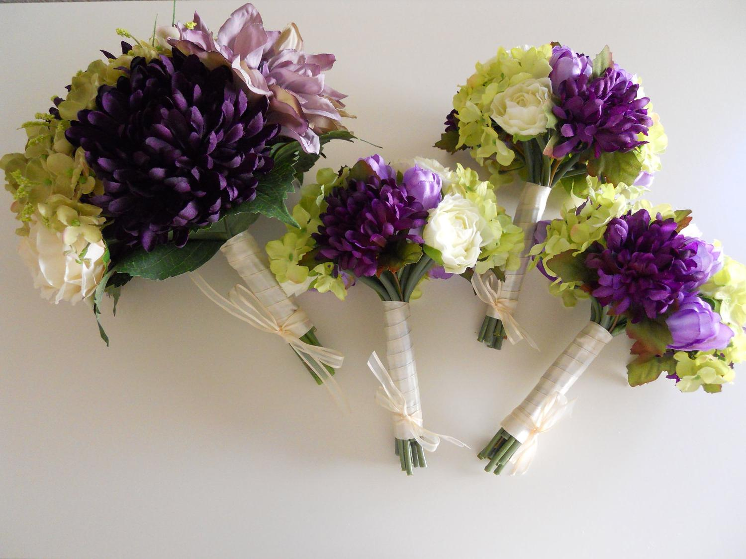 Purple, Ivory and Green Combo Bridal Bouquet Set, 12 pieces package