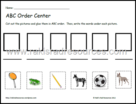 Free abc order center sheet from Raki's Rad Resources.