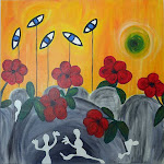 Happy people - Acryl auf Galerierahmen, 80x80 cm