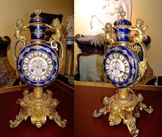 Настольные часы. Севрский фарфор. 19-й век. Позолоченная бронза, расписной фарфор. 25/21/50 см. 8000 евро.
