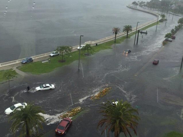A view high above Bayshore Blvd. in Tampa shows coastal flooding, 5 August 2015. Photo: Donn Scott Jr. / ABC Action News