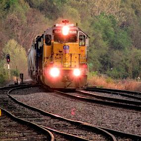 Spring Evening by Rick Covert - Transportation Trains ( spring, springtime, railroad, locomotive, arkansas, railroad tracks, arkansas photographer, evening, trains )