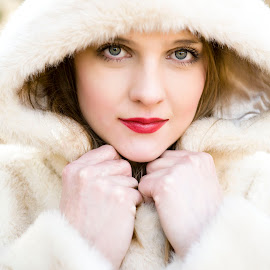 by Andrea Stefanac - People Portraits of Women ( jacket, woman, portret, white, fur, beauty )