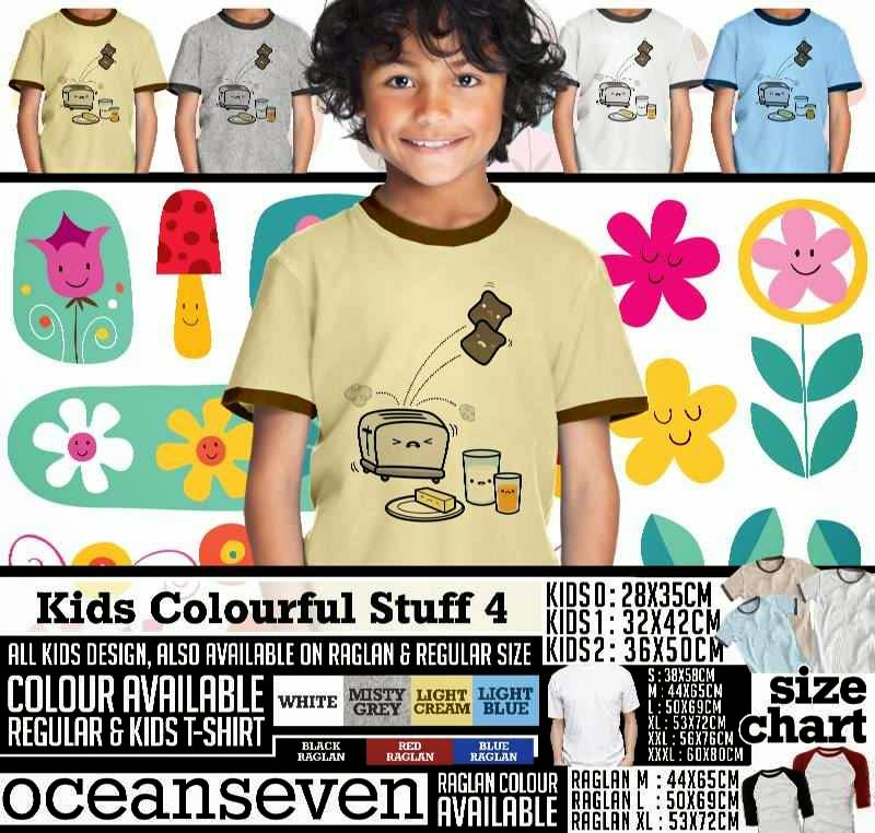 Kaos anak Kids Colourful 4 Lucu Gambar Bread distro ocean seven