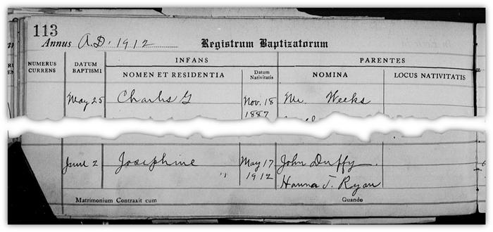 Josephine Duffy baptism record