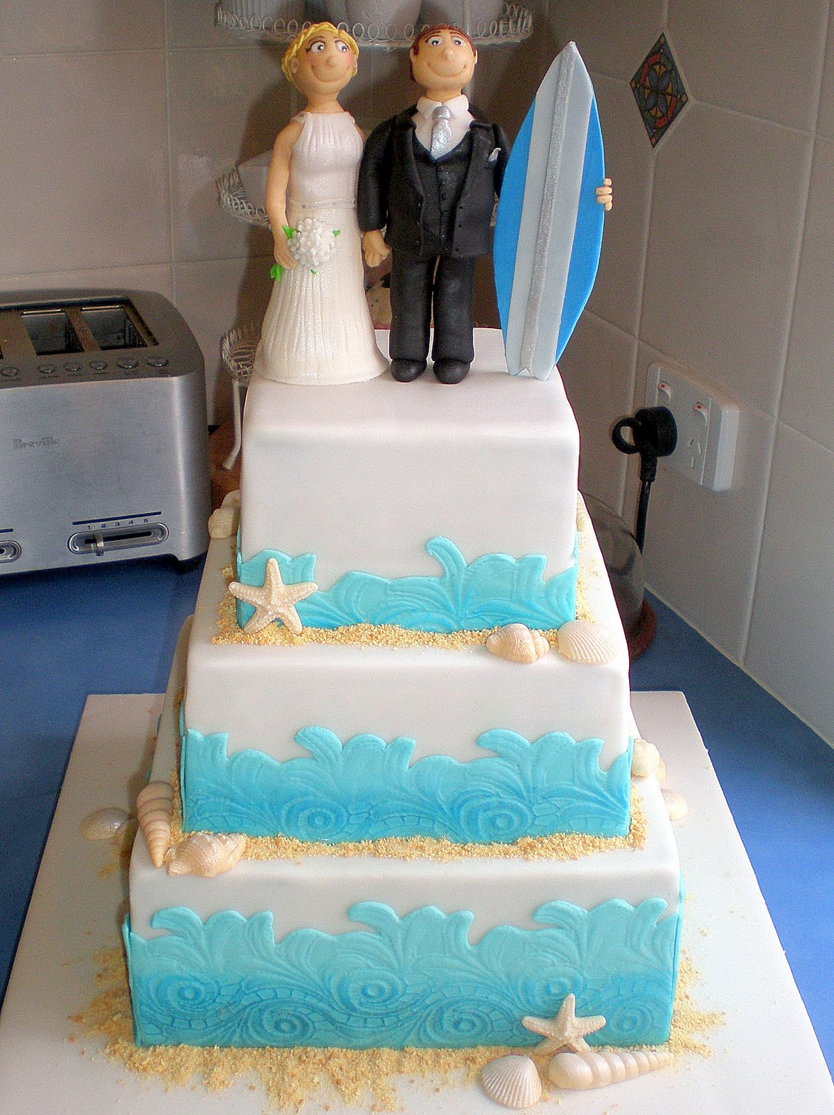 Beach Surfing Wedding Cake