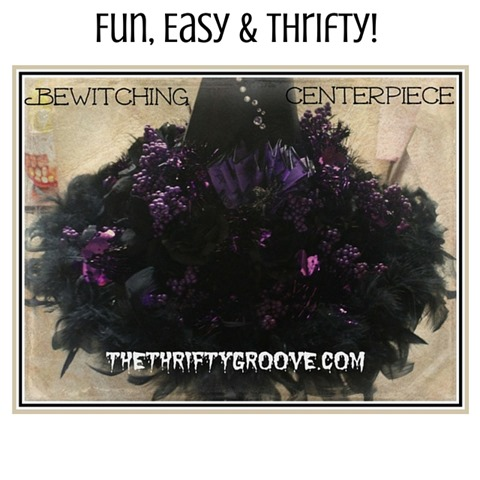 How to make a Fun, Easy & thrifty bewitching centerpiece! All the materials needed can be purchased at the dollar store . Add as much or as little as you want. Very simple DIY project. So cute for a Halloween centerpiece on your dining room table. Easy tutorial.