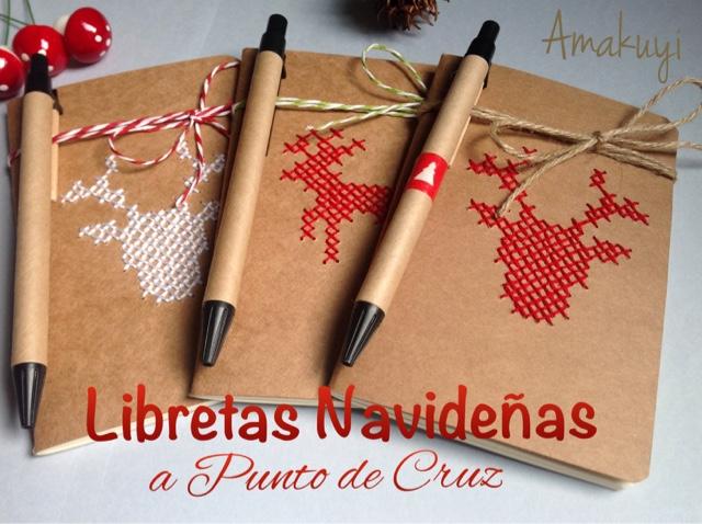 Libretas-kraft-punto-de-cruz-bordados-reno-Navidad-regalos