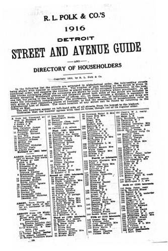 1916 begin street & ave guide