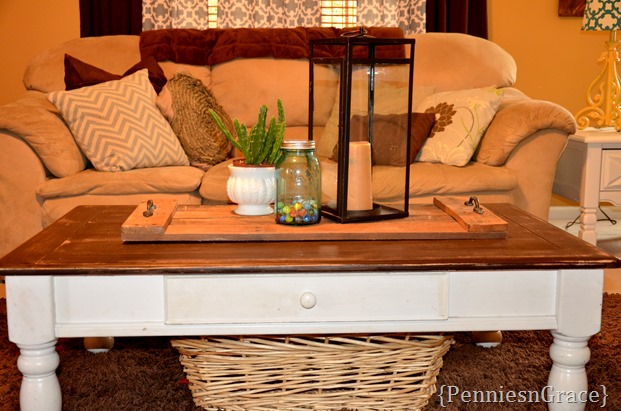coffee table with stained top