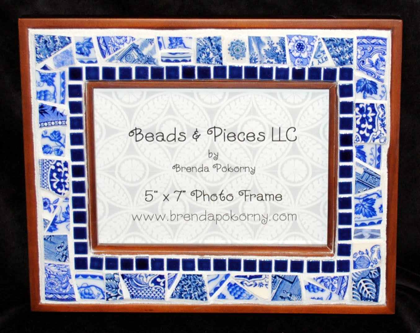Fresh Blue and White Mosaic Photo Frame MOF1400
