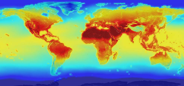 The new NASA global data set combines historical measurements with data from climate simulations using the best available computer models to provide forecasts of how global temperature (shown here) and precipitation might change up to 2100 under different greenhouse gas emissions scenarios. Graphic: NASA