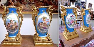 Пара ваз. фарфор, бронза. 19-й век. Ручная роспись, позолоченная бронза. Высота 54 см. 19000 евро.