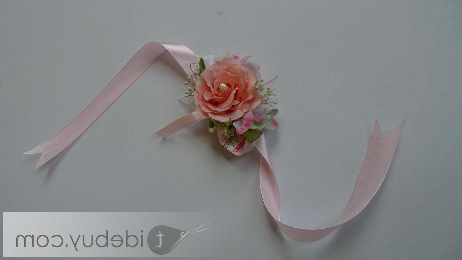 Graceful Orange Silk Cloth Wedding Wrist Corsage with Pink Ribbon-bj002