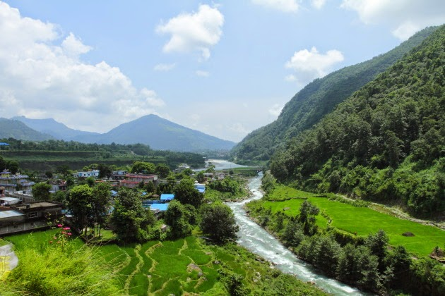 Lovely river view from Pema Ts'al Sakya Monastic Institute, Nepal