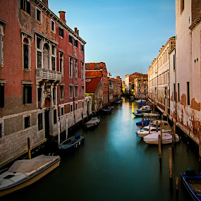 Venetian Canal by Gary Beresford - City,  Street & Park  Street Scenes ( water, reflection, venice, boat, canal )