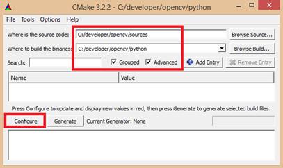 configurar cmake para opencv
