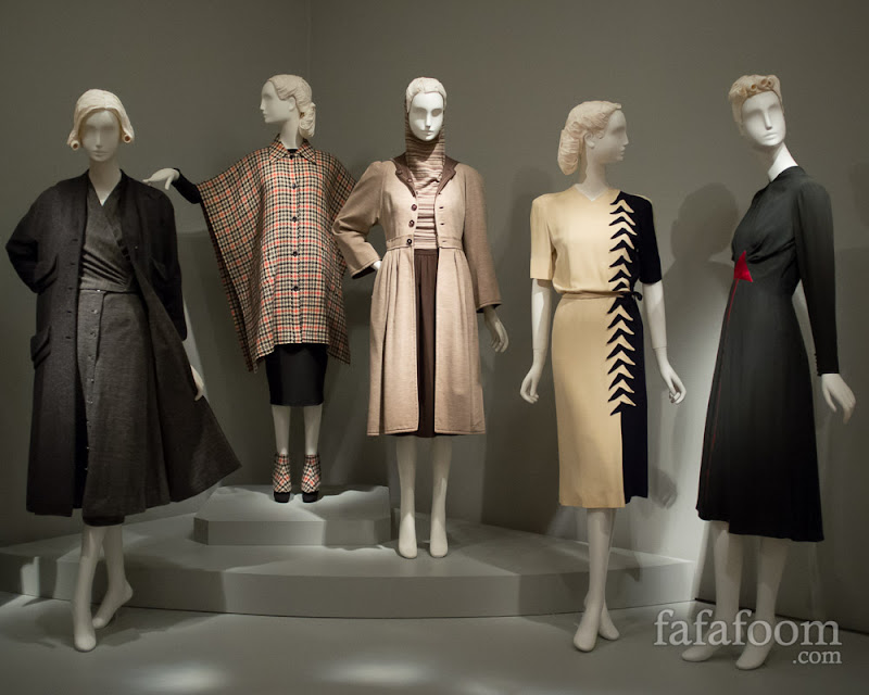 "Left to right: Vera Maxwell, Wool ensemble, 1958. Bonnie Cashin, ""The Tweed Toga"" ensemble, 1943. Claire McCardell, Ensemble, 1946. Madame Eta Hentz for Ren-Eta Gowns, Inc., Dress, 1944. Elizabeth Hawes, ""The Tarts"" dress, 1937."