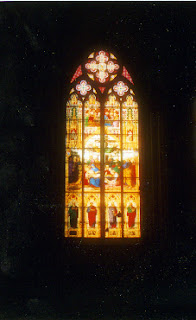 Stained-glass window, Cologne Cathedral, Cologne, Germany.