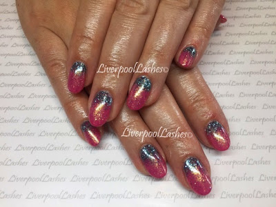 liverpoollashes liverpool lashes acrylics cnd shellac pink bikini lecente glitter