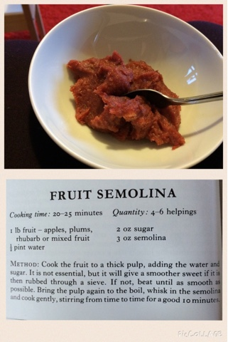 Wartime recipe fruit semolina