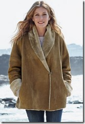 Celtic shawl collar sheepskin long jacket