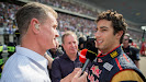 Daniel Ricciardo being interviewed by David Coulthard