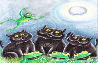 El gato y las ranas fabulas